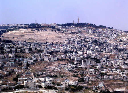 Panorama of Mount of Olives from Haas Promenade in Jerusalem,Israel