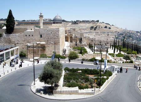 Al-Aqsa Mosque on the background of Mount of Olives in Old Jerusalem,Israel Imagens