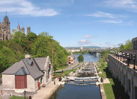 Rideau Canal locks in Ottawa,Canada
