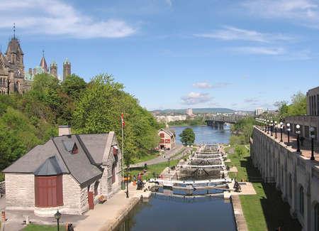 rideau canal: Rideau Canal locks in Ottawa,Canada