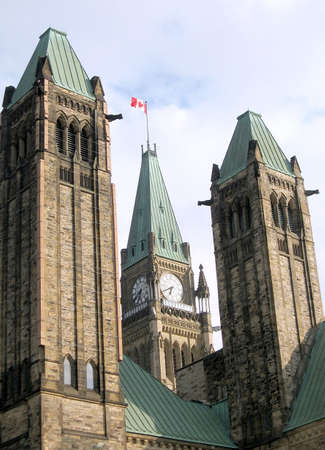 Towers of Canadian Parliament in Ottawa, Canada Stock Photo