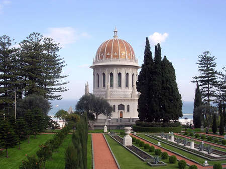 bahaullah: Bahai Gardens and Golden dome in Haifa, Israel