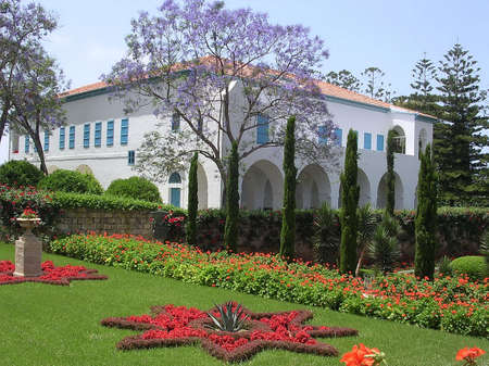 Mansion of Bahji in Bahai garden in Akko, Israel            Stock Photo