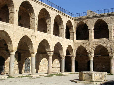 Courtyard of Khan al Omdan  in Akko, Israel           Stock Photo