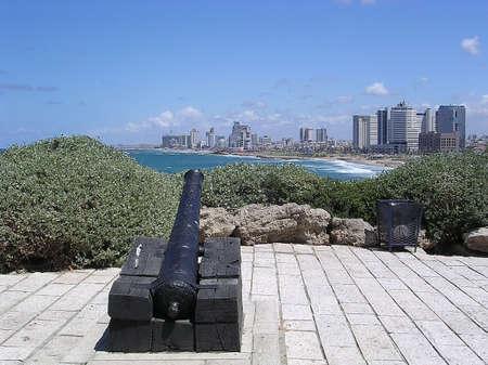 yafo: Napoleonic Cannon aims to Tel Aviv in Jaffa, Israel