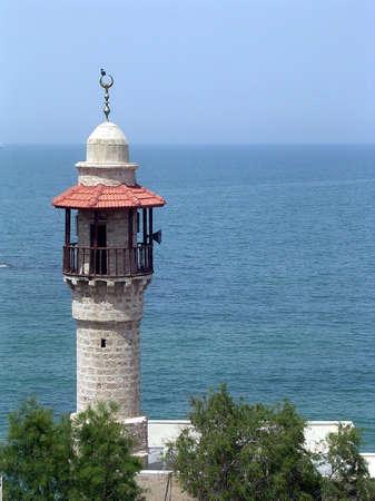 Minaret of Al-Bahr Mosque in Jaffa, Israel           photo