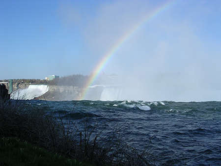 The Right Spectacular rainbow at Niagara Falls in spring, Canada                      photo