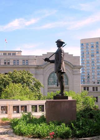 andrew: Statue of Brigadier Andrew Hamilton Gault in Ottawa, Canada. Stock Photo