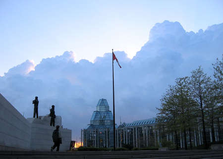 Peacekeeping Monument on the background of National Gallery in Ottawa, Canada