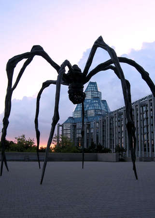 Sculpture of Spider on the background of Sunset in Ottawa, Canada Stock Photo