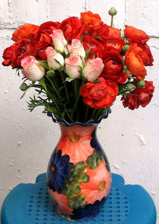 Bouquet of roses in a vase in Or Yehuda, Israel