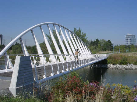 White Bridge in Humber Bay Park on bank of lake Ontario in Toronto, Canada           Stock Photo