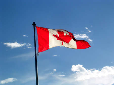 thornhill: Canadian flag waving in Thornhill Ontario, Canada           Stock Photo