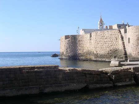 Sea Walls in Old City of Akko (Acre), Israel             Stock fotó
