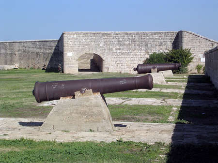 akko: Napoleons cannons of old fortress in Akko (Acre), Israel
