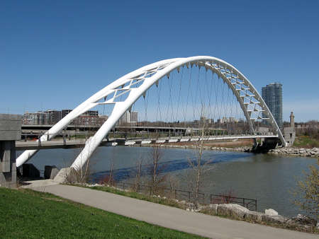 Beautiful Humber Bay Arch Bridge on bank of lake Ontario in Toronto, Canada