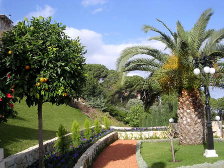 Corner of Bahai Gardens in Haifa, Israel