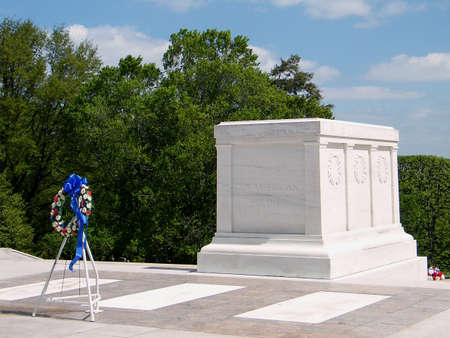 Closeup of the Tomb of the Unknown Soldier with a garland in Arlington National Cemetery, Arlington Virginia USA