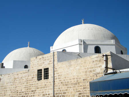 etymology: Two White Domes of Mahmoudiya Mosque in old city Jaffa, Israel