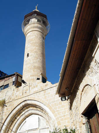 minaret: Minaret of mosque in old city Jaffa, Israel Stock Photo