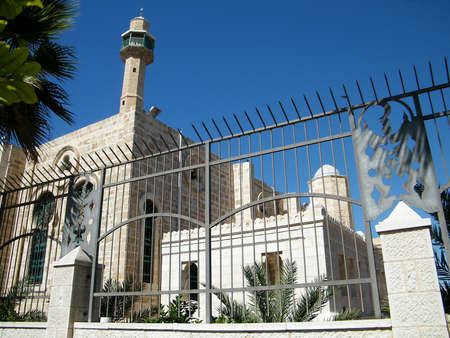 tel: Hasan-bey Mosque in Yosef Levi street in Tel Aviv, Israel Stock Photo