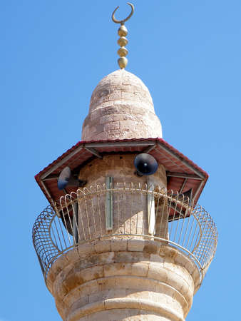 minaret: The upper part of the minaret of mosque in old city Jaffa, Israel