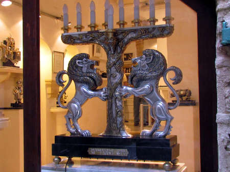 Hanukija with Lions in old city Jaffa, Israel
