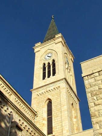 franciscan: The Clock Tower of Franciscan Church in old city Jaffa, Israel