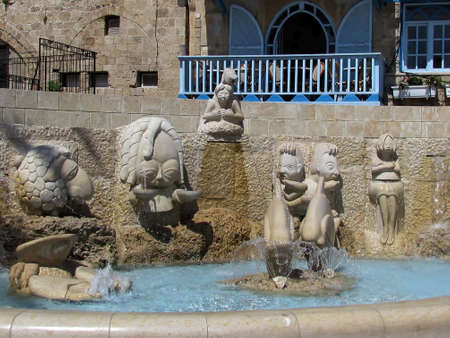 The fountain with sculptures in old city Jaffa, Israel                               photo