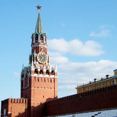 Spasskaya Tower of Moscow Kremlin at Red Square in Moscow, Russia photo