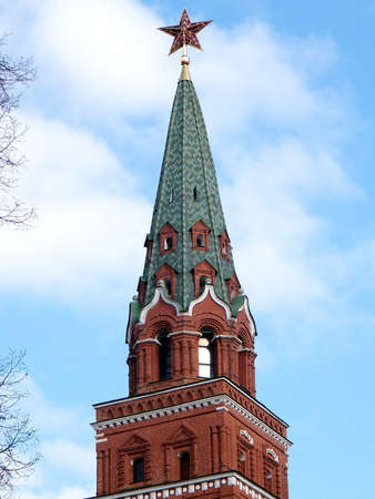The upper part of the Troitskaya Tower of Moscow Kremlin in Moscow, Russia photo
