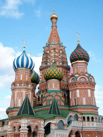 Towers of Cathedral of Basil the blessed in Moscow, Russia photo