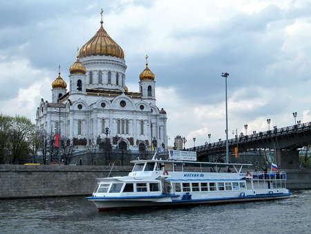 waterbus: Water-bus on Moscow river near Cathedral of Christ the Saviour in Moscow, Russia