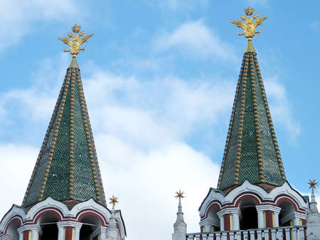 double headed: Double- headed eagles on the towers of Iberian Gate and Chapel in Moscow, Russia Stock Photo