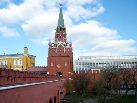 Troitskaya Tower between Arsenal and the Palace of Congresses of Moscow Kremlin in Moscow, Russia photo