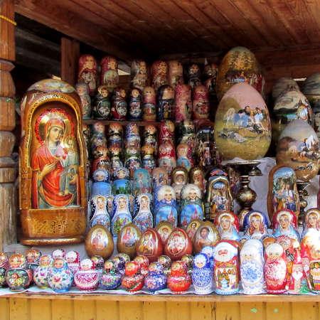 Matryoshka nesting dolls on Izmailovsky Market in Moscow, Russia