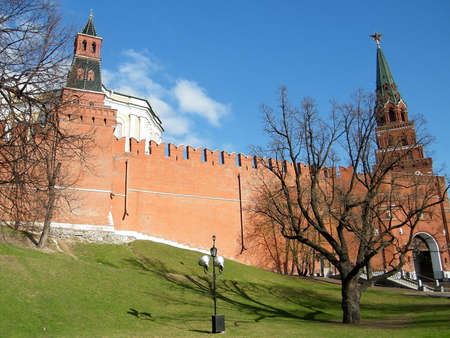 Arsenalnaya and Troitskaya Towers of Moscow Kremlin in Moscow, Russia photo