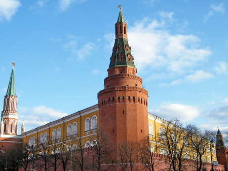 arsenal: Corner Arsenal Tower of Moscow Kremlin in Moscow, Russia Stock Photo