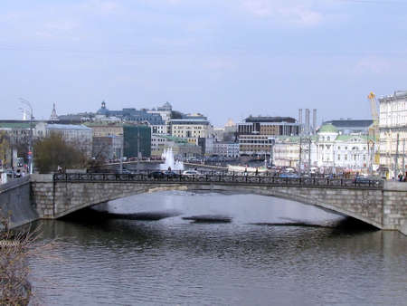 Small Stone Bridge on a clear day in Moscow, Russia                                Stock Photo - 13452043