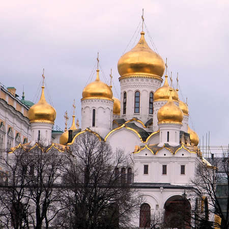 View to Cathedral of the Annunciation at evening in Moscow Kremlin, Russia Stock Photo