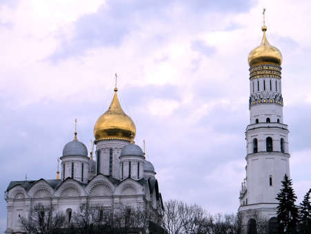View to Archangel Cathedral and Ivan the Great Bell at evening in Moscow Kremlin, Russia