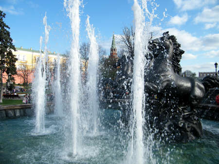 Fountain with sculpture  Horses  near Kremlin in Moscow, Russia  photo