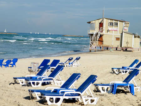 Plage in winter in Tel Aviv, Israel photo