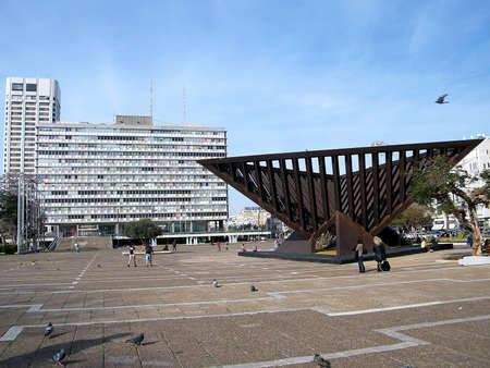 square: Rabin Square on a day in Tel Aviv, Israel