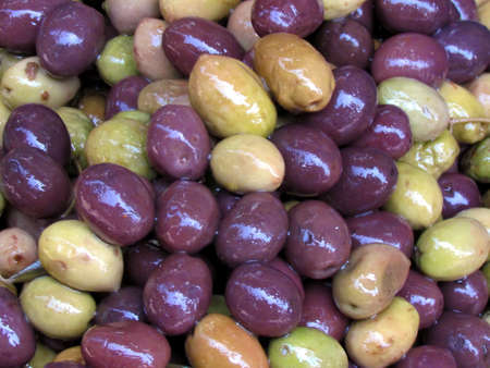 Mix of different types olives on bazaar Carmel in Tel Aviv, Israel