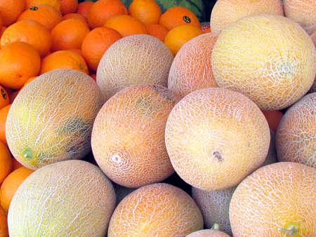 Melons and oranges on bazaar in Tel Aviv, Israel Stock fotó - 13670650