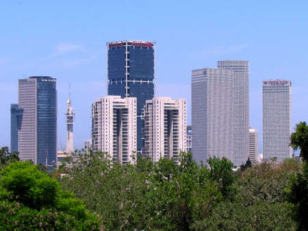 View to skyscrapers of Tel Aviv from Wolfson Park in Israel