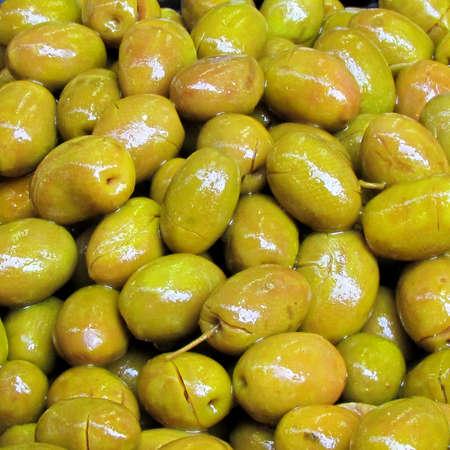 Pickled green olives on bazaar Carmel in Tel Aviv, Israel Stock fotó - 13732989
