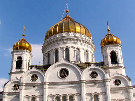 Pediment of Cathedral of Christ the Saviour in Moscow, Russia                                                                       photo