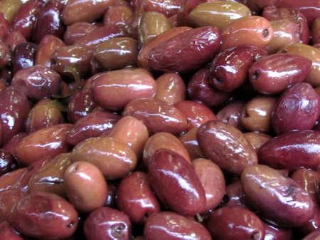 Purple appetizing olives on bazaar Carmel in Tel Aviv, Israel Stock fotó - 13769915